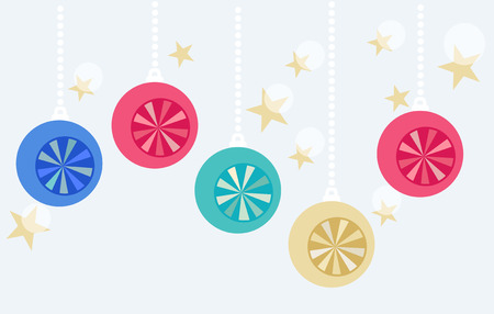 Christmas baubles and golden stars