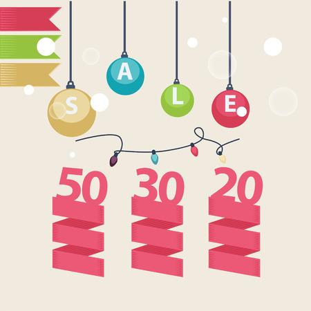 Christmas decorations depicting christmas sale Illustration