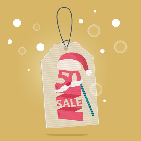 markdown: 50 percent reduction Christmas sale label with a red and white Xmas hat and a carnival mask with the word SALE