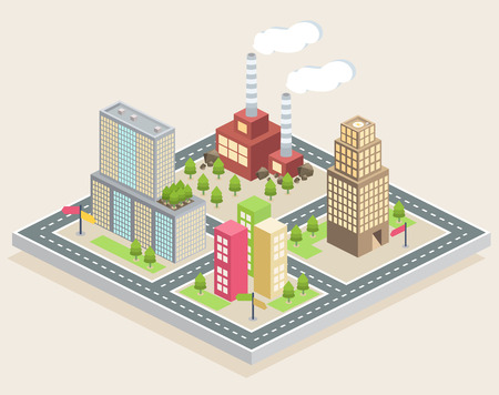 Isometric buildings on a city map on a light brown background Illustration