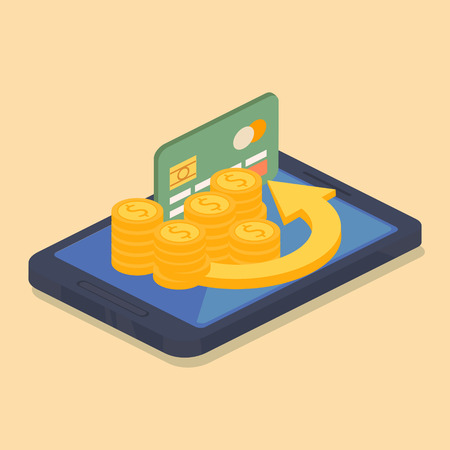 banking concept: Mobile money or online banking concept with a dark green credit card standing on the screen of an electronic device