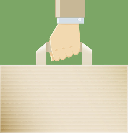 hand holding paper: A hand holding a paper bag