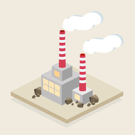 Vector isometric buildings. Industrial Illustration