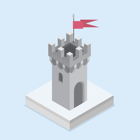 An illustration of an isometric medieval castle tower Illustration