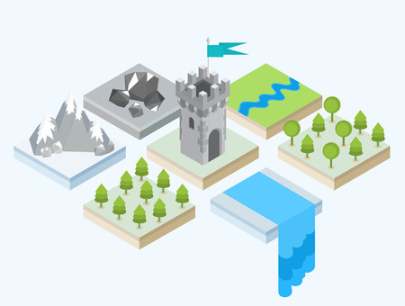 waterfall river: Isometric views of a forest, a waterfall, a mountain range, a group of stones and a medieval castle tower