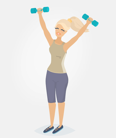 A woman with blond hair doing morning exercises with dumbbells Illustration