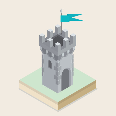 fortified: An illustration of an isometric medieval castle tower Illustration