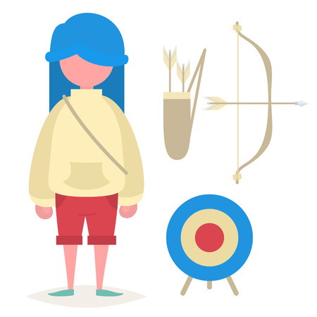 blue hair: A girl with blue hair, a bow, a quiver with arrows and an archery target