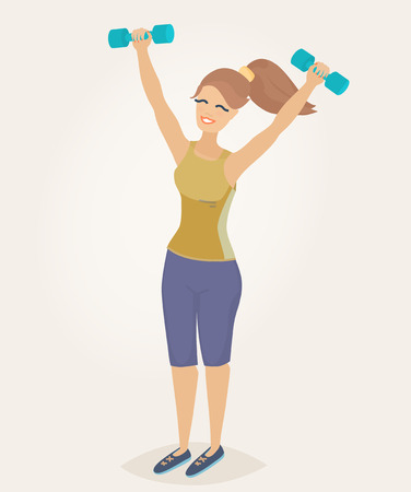 A woman with auburn hair doing morning exercises with dumbbells Illustration