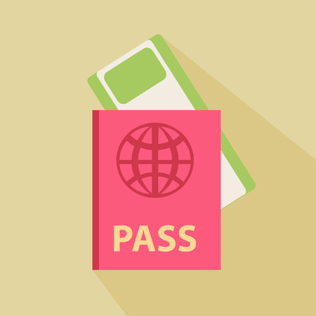 Passport and boarding pass ticket icon. Flat design.