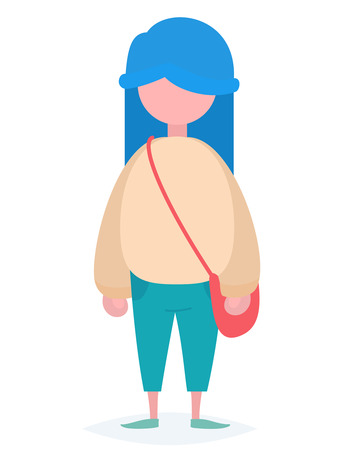 over the shoulder: A girl with blue hair standing with a small red handbag over her shoulder Illustration