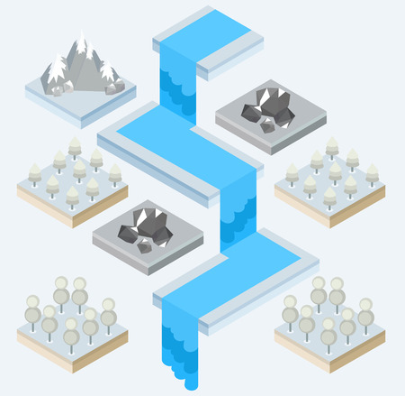 snowcapped mountain: An isometric view of a waterfall and a forest