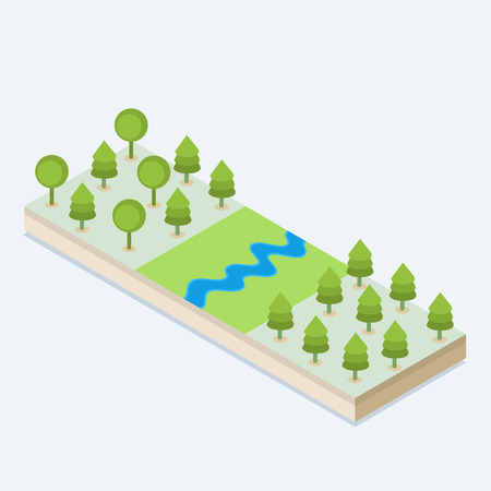 An isometric view of a river and a forest
