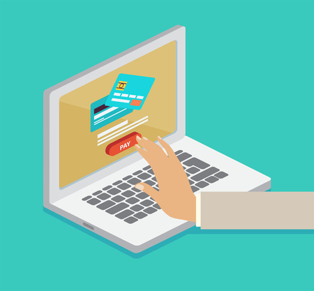 Purchase online, payment by credit card in an e-commerce concept