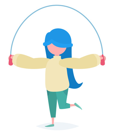 A girl with blue hair jumping with a skipping rope