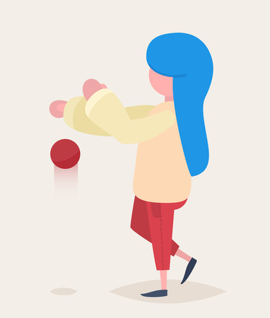 blue hair: A girl with blue hair catching a red ball Illustration