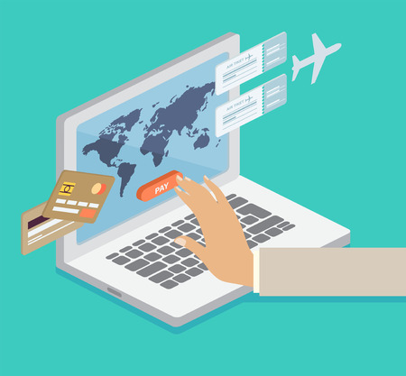 Person booking his airline flights online and paying by credit card