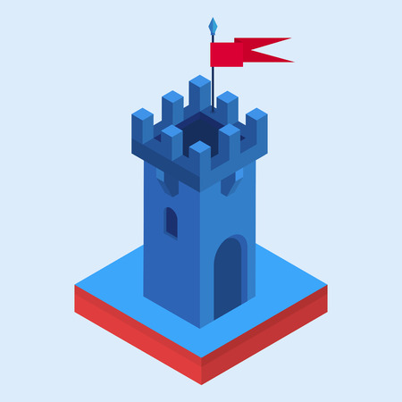 An illustration of an isometric fairy-tale castle tower Illustration