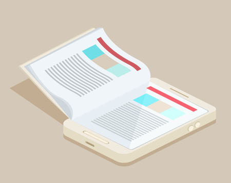 An illustration of a smart phone e-book with realistic page flipping effect Illustration