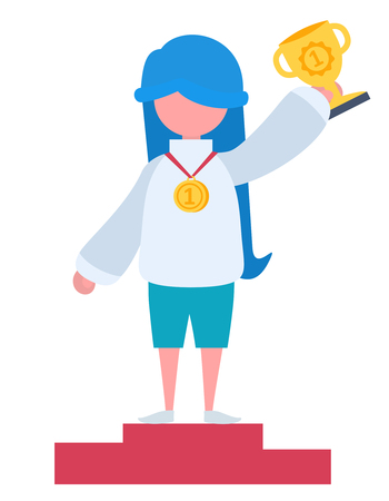 A girl with blue hair winning a cup and a gold medal