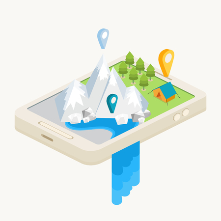An isometric mobile map showing mountains, a waterfall, a forest and a campsite