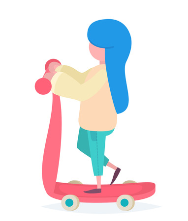 A girl with blue hair riding a colorful scooter Illustration
