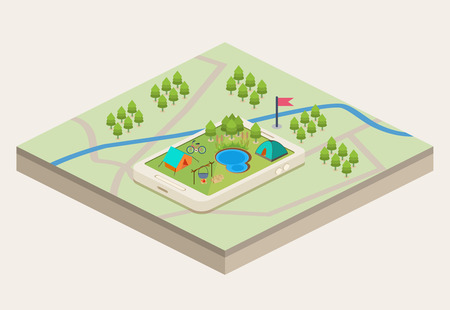 An isometric mobile map showing a campsite with a river and a lake