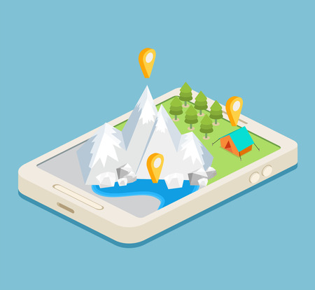 An isometric mobile map showing mountains, a forest and a campsite Illustration