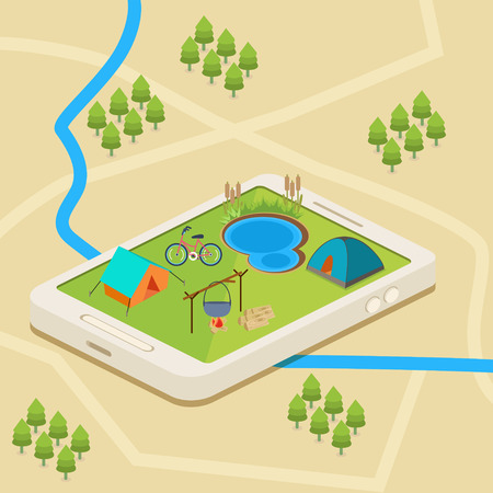 campsite: An isometric mobile map showing a campsite with a river and a lake