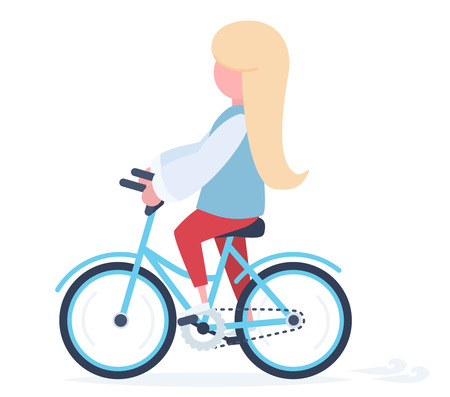 A girl with blond hair riding a colorful bicycle