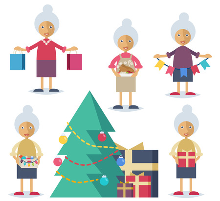preparing: Set of characters in flat stile. An old woman shopping, cooking turkey, decorating the Christmas tree and preparing presents