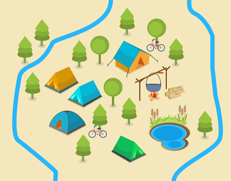An isometric map showing a campsite with two rivers and a lake