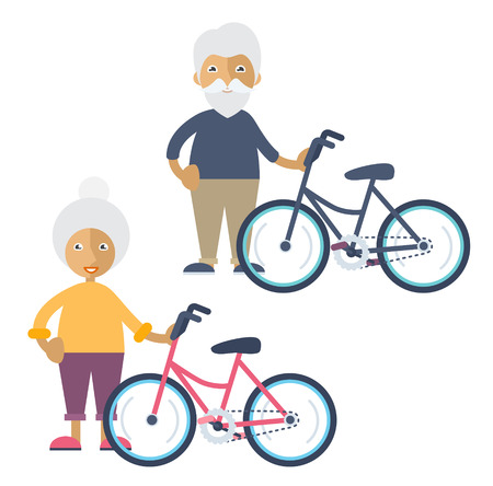 An old man and an old woman standing beside their colorful bikes Illustration