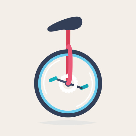 one wheel bike: A colourful unicycle, vector illustration