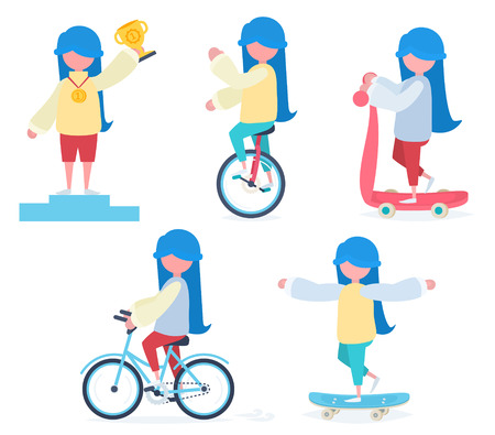 A girl with blue hair riding a bicycle, an unicycle, a scooter, skateboarding and winning a prize
