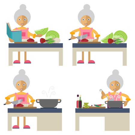 Set of characters in flat stile. An old woman preparing food