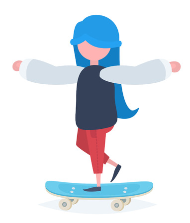 A girl with blue hair standing on a skateboard Illustration