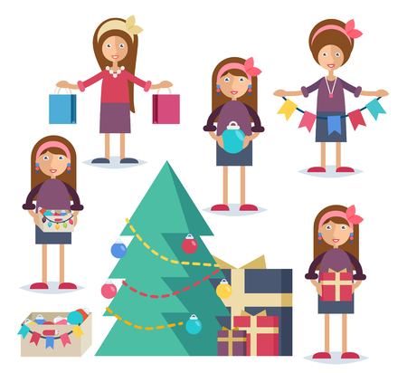 Set of characters in flat stile. An young woman shopping, cooking turkey, decorating the Christmas tree and preparing gifts Illustration