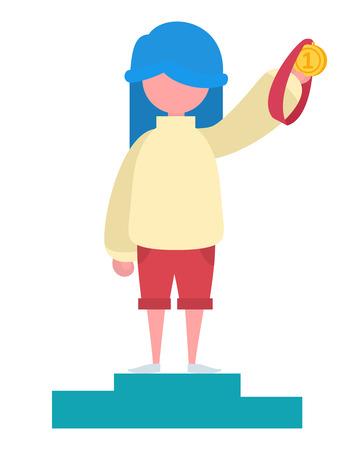 A girl with blue hair holding a gold medal Ilustração