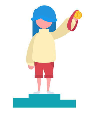 A girl with blue hair holding a gold medal Illustration