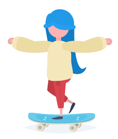 blue hair: A girl with blue hair standing on a skateboard Illustration