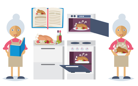 Set of characters in flat stile. An old woman reading a recipe book, spicing up the turkey and baking it Ilustração