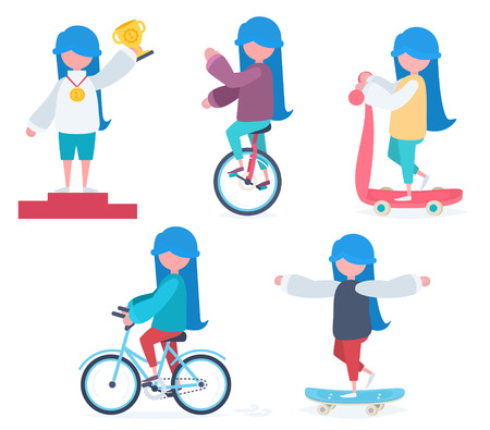 Set of characters in flat style. A girl with blue hair riding a bicycle, an unicycle, a scooter, skateboarding and winning a prize Stock Vector - 44592966