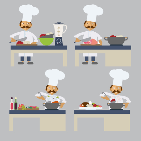 stile: Set of characters in flat stile. A cook preparing food
