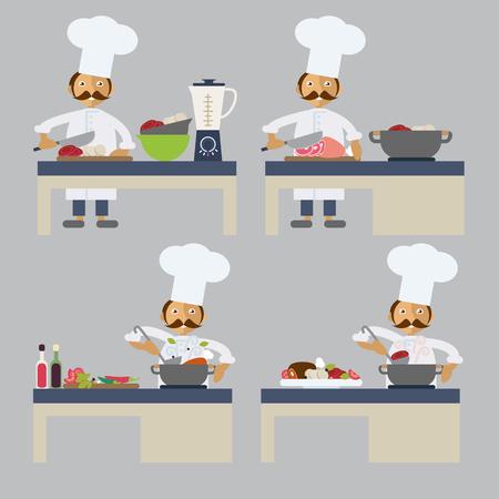 preparing food: Set of characters in flat stile. A cook preparing food