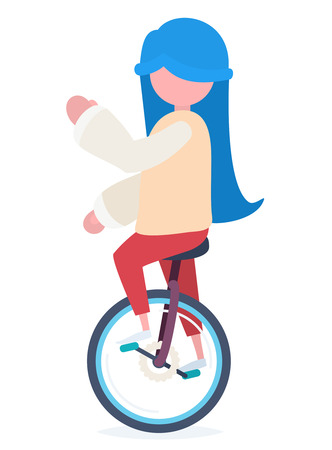 A girl with blue hair riding a colorful unicycle and looking to the left