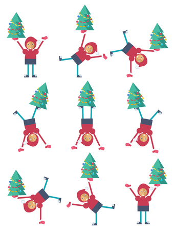 A funny Christmas elf doing a somersault with a Christmas tree Illustration