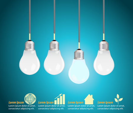 Four light bulbs hanging against blue background, creative template Stock Vector - 48104772