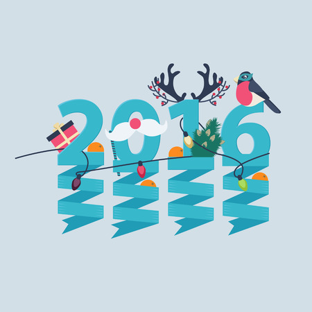 2016 New Year greeting card design with party streamers hanging from blue numerals decorated with Christmas lights, a gift, robin, tree and antlers Stock Vector - 48104776