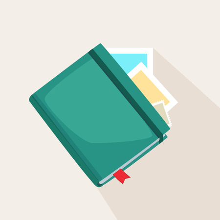 Colorful green journal or diary lying on instant photos or cards over a light grey background, vector illustration Illustration